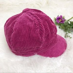 Kangol dark pink corduroy newsboy hat size medium